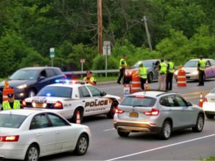 Bethlehem police at a DWI checkpoint on Route 9W just north of Corning Hill on Thursday, June 8. (Photo by Tom Heffernen Sr.)