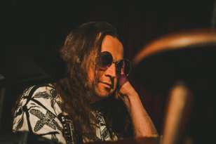 Brian Mangini captured by photographer Kiki Vassilakis in Ominous Seapods show at Cohoes Music Hall.
