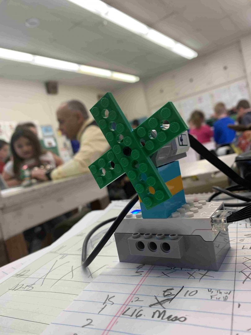 Students had to make and connect this all-LEGO cooling fan. Diego Cagara / Spotlight News