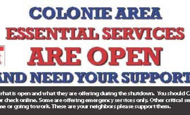 Colonie Spotlight area essential services: March 27, 2020 daily edition