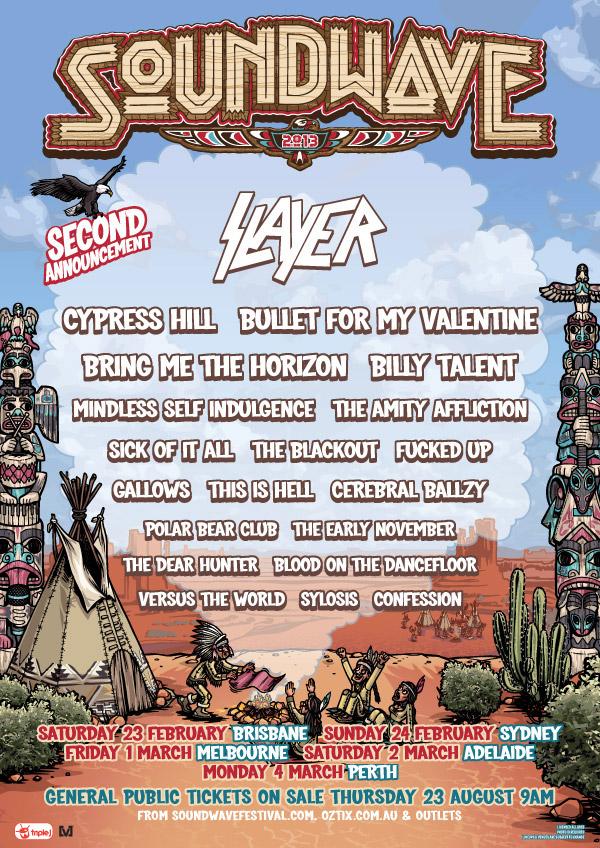 Soundwave 2013 Second Announcement Including Slayer