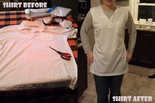 altered tshirt for owl costume