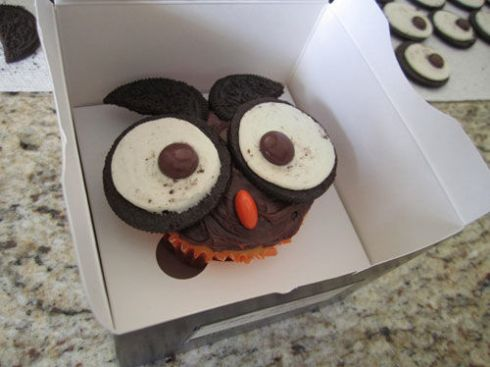 owl cupcake instead a cupcake box with stand