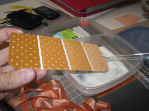 heat embossing on paint chip thank you tags