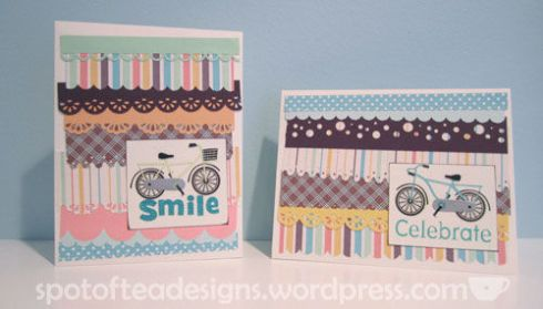 handmade cards using strips of paper with punched edges