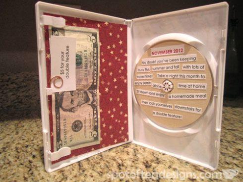 Present a movie theater or Redbox gift card inside a dvd case | spotofteadesigns.com