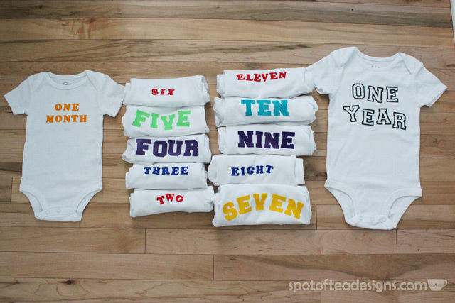 DIY Monthly Baby Onesie Gift using iron on letters | spotofteadesigns.com