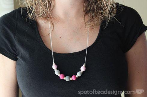 DIY Wood Bead Necklace Tutorial | spotofteadesigns.com