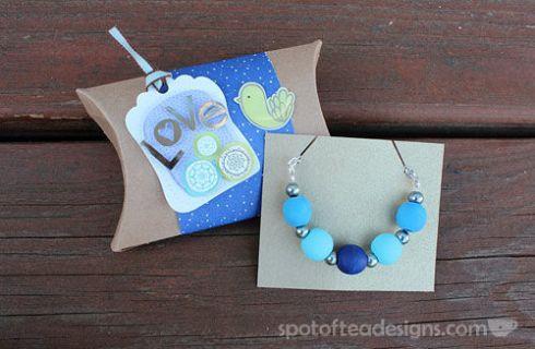 Blue DIY Wood Bead Necklace spotofteadesigns.com