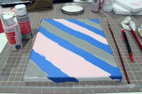 Nursery Canvas Art Taped Stripes - spotofteadesigns.com