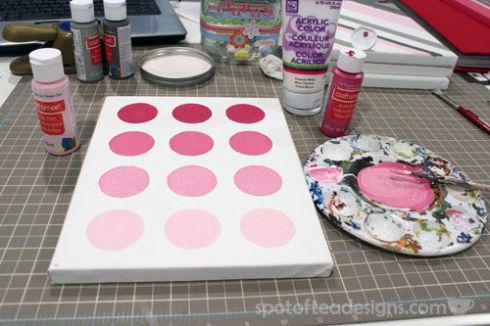 Nursery Canvas Art Ombre Painted Circles - spotofteadesigns.com