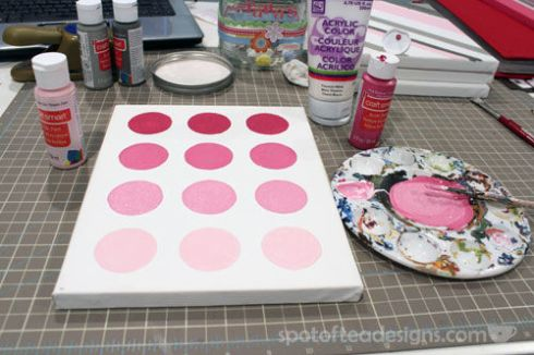 Nursery Canvas Art Ombre Painted Circles - spotofteadesigns.com