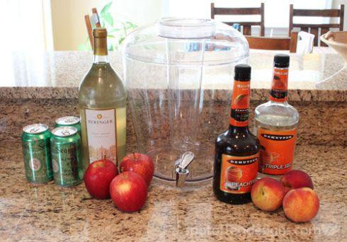White Wine Peach Sangria Recipe   spotofteadesigns.com