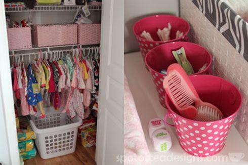 Pink, Gray and White Modern Baby Girl Nursery: Closet and Storage| spotofteadesigns.com