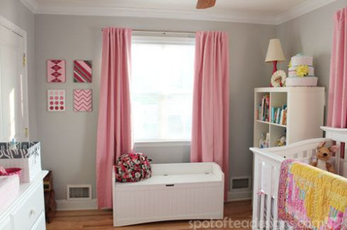Pink, Gray and White Modern Baby Girl Nursery: 2nd view of the room | spotofteadesigns.com