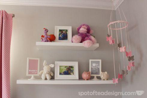 Pink, Gray and White Modern Baby Girl Nursery: Shelves | spotofteadesigns.com