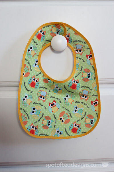 Handmade Owl Baby Bib | spotofteadesigns.com