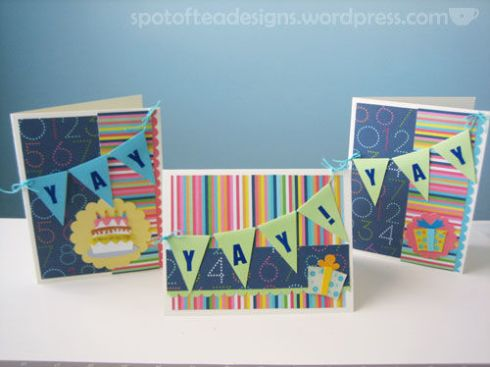 birthday cards make with garland design