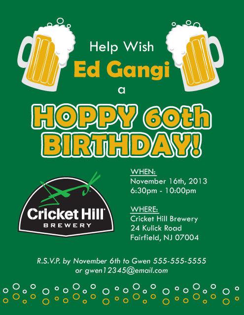 Hoppy 60th Birthday Invite: Beer themed birthday party | spotofteadesigns.com