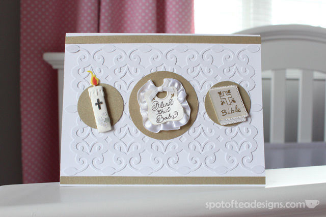 Handmade card using tone on tone technique: logan's baptism | spotofteadesigns.com