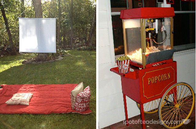 Movie Night Engagment Party Backyard Screen and Popcorn Machine | spotofteadesigns.com