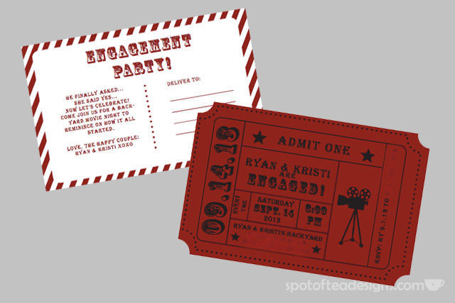 Movie Night Party Invite | spotofteadesigns.com