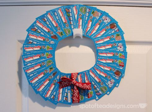 Christmas Grab Bag Gift Idea: Lottery Ticket Wreath. (Tip: Use Temporary adhesive so and don't apply it over the barcodes!) | spotofteadesigns.com