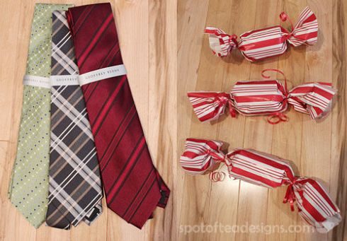 Unique Gift Wrapping Idea: Create little faux candy shapes when wrapping ties | spotofteadesigns.com