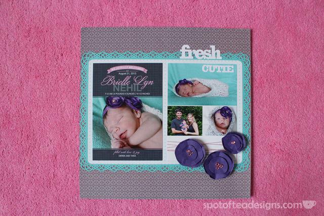 Baby Scrapbook Birth Announcement | spotofteadesigns.com