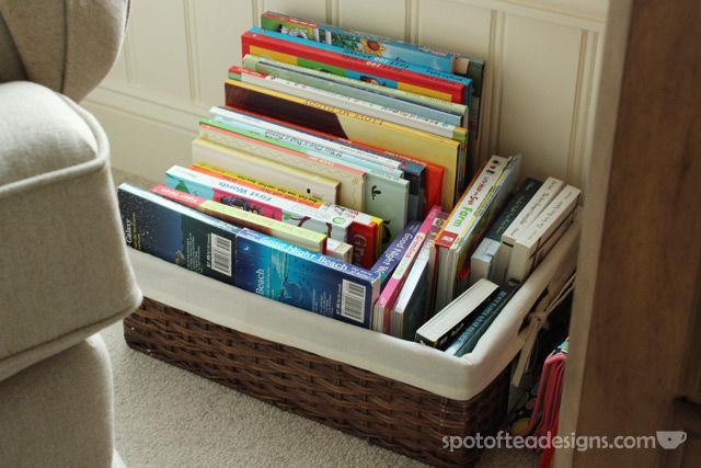 Gender Neutral Sea Turtle Baby Nursery Reveal: Books in basket instead of bookshelf | spotofteadesigns.com