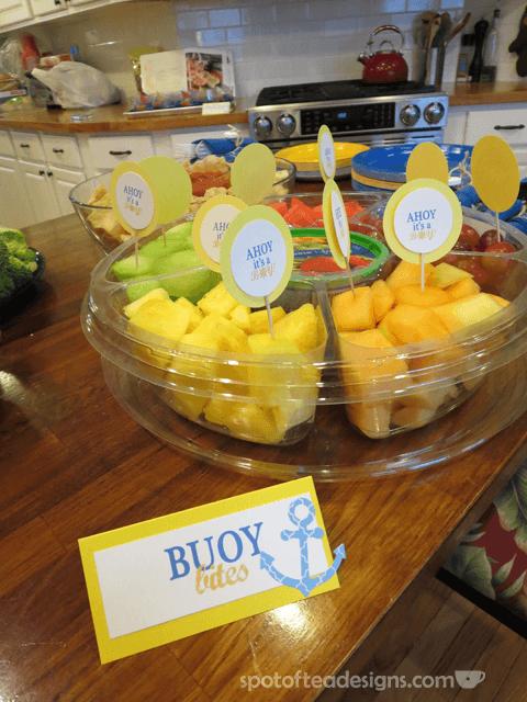 Nautical Baby Shower: Buoy bites fruit salad | spotofteadesigns.com