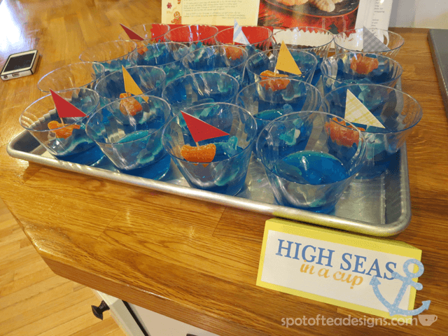 Nautical Baby Shower: high seas jello cup dessert | spotofteadesigns.com