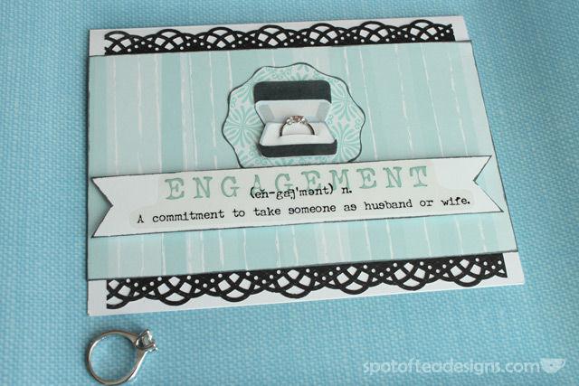 Handmade Card for Wedding Engagement   spotofteadesigns.com