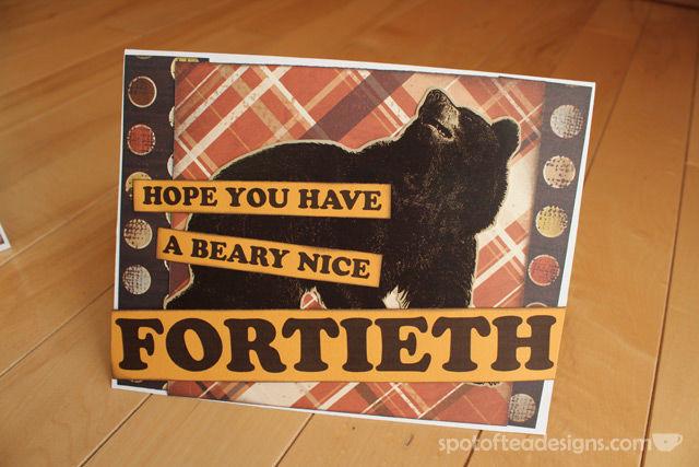 Handmade Masculine Fortieth Birthday Card | spotofteadesigns.com