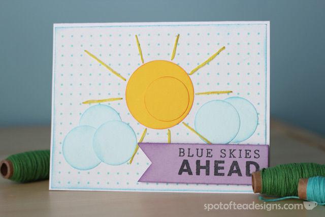 """Blue Skies Ahead"" Handmade card using circle punches | spotofteadesigns.com"