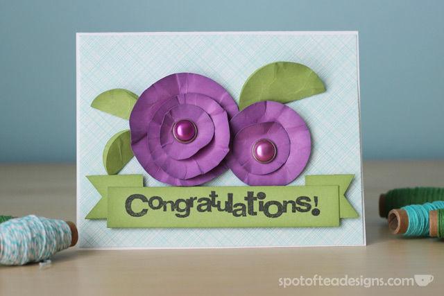 """Congratulations"" Handmade card using circle punches | spotofteadesigns.com"