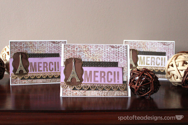 """Use Your Stash Challenge: Handmade Thank You """"Merci"""" cards using Jolee's By You Embellishments 