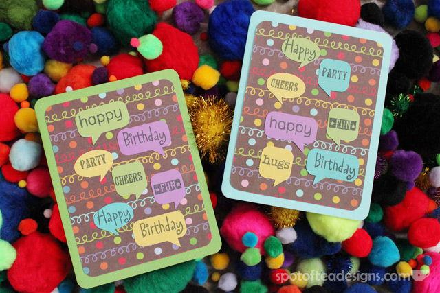 Use Your Stash Challenge: Caption Bubble Birthday Cards | spotofteadesigns.com
