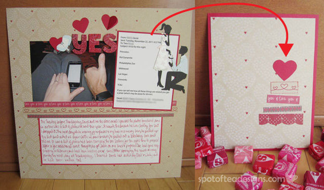 Use the scraps left over from scrapbooking to create a card | spotofteadesigns.com