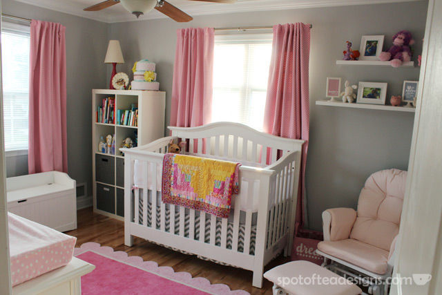 Pink, White and Grey Baby Girl Nursery | spotofteadesigns.com