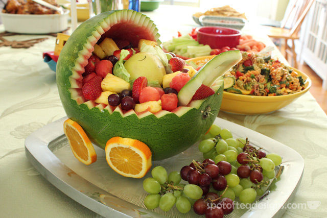 Transportation Themed Baby Shower: Fruit Salad Carriage | spotofteadesigns.com