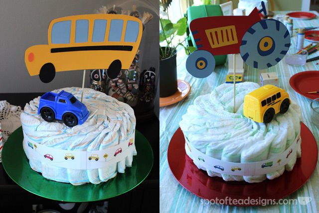Transportation Themed Baby Shower: Diaper Cakes with diecut vehicles | spotofteadesigns.com