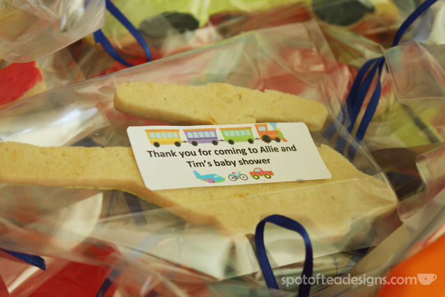 Transportation Themed Baby Shower: Tags on favors | spotofteadesigns.com