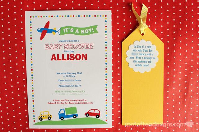 Transportation Themed Baby Shower Invitation Design | Spotofteadesigns.com