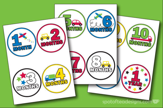 DIY Monthly Belly Stickers for #baby photot shoots | spotofteadesigns.com