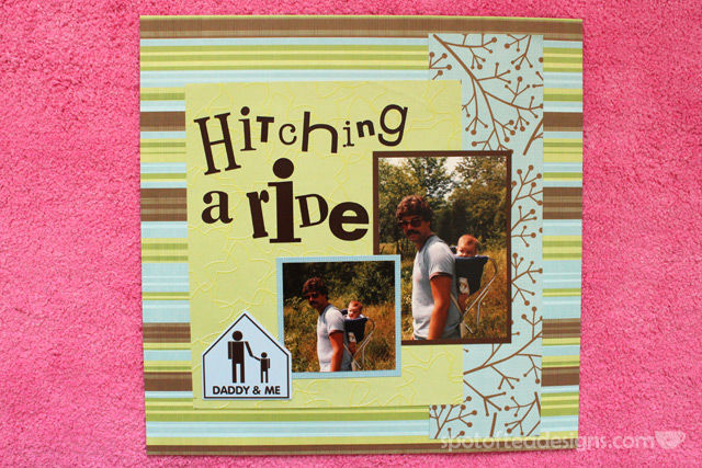 Baby Scrapbook Page: Hitching a Ride - single page layout of baby wearing in the 80s | spotofteadesigns.com