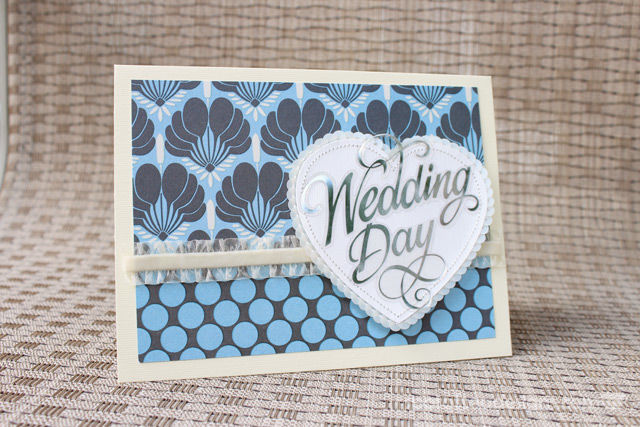 Handmade Wedding Card using Amy Butler patterned paper | spotofteadesigns.com