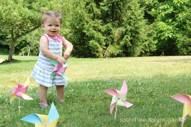 First Birthday Party Invitation Photoshoot: pinwheels | spotofteadesigns.com
