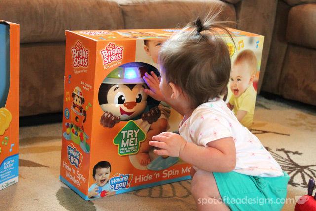 Spotofteadesigns.com reviews Bright Starts Hide n Spin Monkey | spotofteadesigns.com