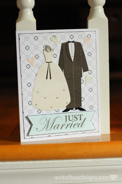 Just Married Wedding handmade Card | spotofteadesigns.com